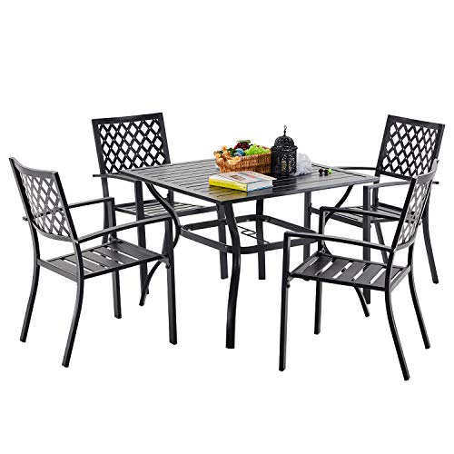 VICLLAX Patio Dining Set, 5 Pcs Outdoor Dining Table and 4 Stackable Dining Chiars
