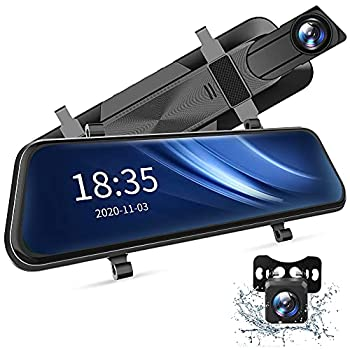 2.5K Mirror Dash Cam Voice Control Dual Dash Cam with 10  Touch Screen Rear View Mirror Camera Waterproof Backup Camera Parking Assist Smart Parking Mode Loop Recording G-Sensor