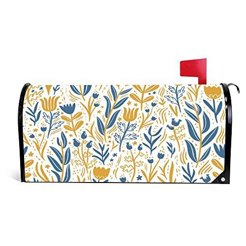 wendana goud en donkerblauw bloemen naadloos patroon mailbox cover magnetische Vinyl huis tuin Decor mailbox wrap post brievenbus cover 18