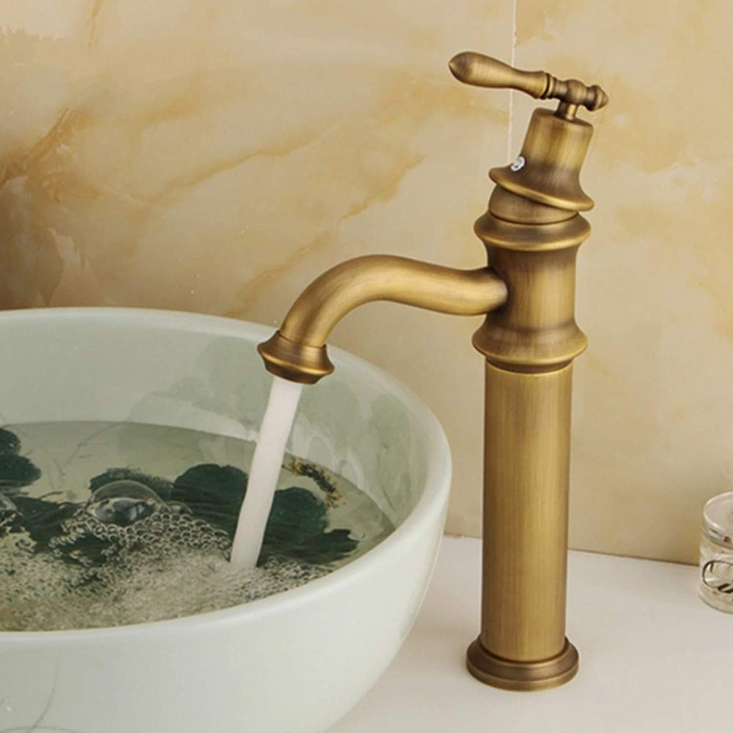 Lddpl Basin Faucets Hot and Cold Tap Antique Brass Mixer Solid Copper Deck Mounted Sink Faucet Bathroom s Y10068