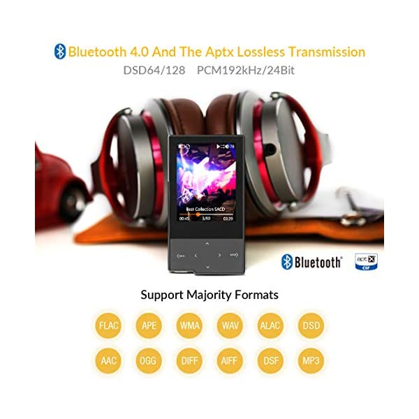 Hi Res Music Player, Bluetooth MP3 Player Portable Lossless Hi-Fi Digital Audio Player Support Aptx/FLAC/DSD/AAC with SD Card Slot 5
