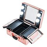 Kemier Makeup Train Case - Kosmetischer Organizer Makeup Case mit Licht und Spiegel/Makeup Case mit individuellen Teilern/Großes Makeup Artist Organizer Set (Rose Gold)