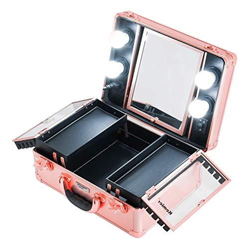 Kemier Mallette-trousse de maquillage-Boîte organiseur de cosmétique,mallette de maquillage avec lumières et miroir/mallette de maquillage avec des séparateurs personnalisés/grande trousse-or rose