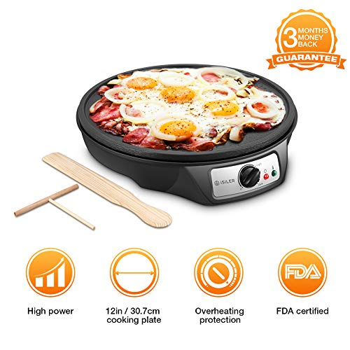 Electric Crepe Maker, iSiLER 12' Electric Nonstick Crepe Pan, 1080W Electric Pancakes Maker Griddle with Batter Spreader & Wooden Spatula, Precise Temperature Control for Roti, Tortilla, Eggs, Bacon
