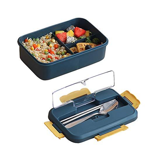 Fiambrera Bento a prueba de fugas, contenedor de alimentos para adultos y niños con 3 compartimentos, apto para microondas y lavavajillas, 1 paquete, azul