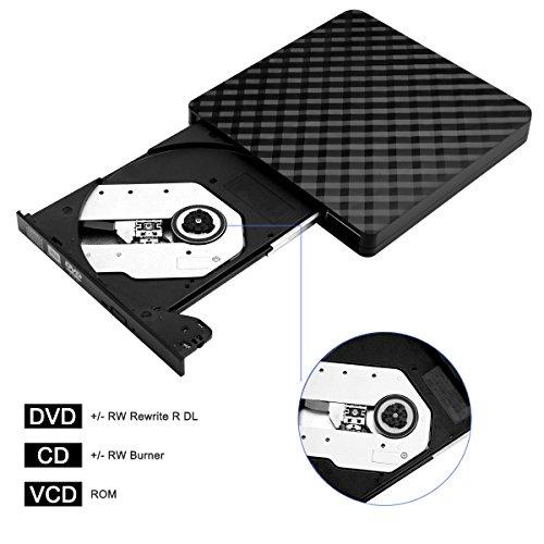 External CD Drive, BEVA Portable Slim USB 3.0 DVD CD Player Burner RW Writer, Copier, Reader for Laptop, Notebook, Desktop, Mac, Support Windows 7/8/ 10/ XP/Mac OS