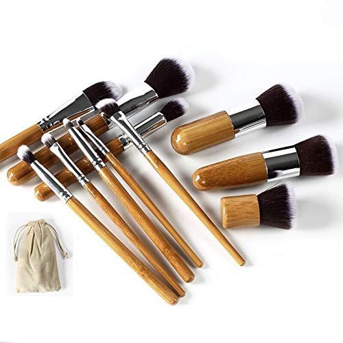 Pinceau de maquillage 11 Manche en bambou Pinceau de maquillage Ensemble de pinceaux de maquillage professionnel