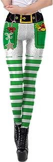 KIRJAUDU Women's Holiday Digital 3D Printed Plus Size Leggings Footless Striped Tights XL