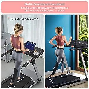 RHYTHM FUN Treadmill Folding Treadmill Desk Treadmill 4.0HP Electric Motorized Treadmill Super Shock-Absorbing Slim Quiet Treadmill with Large Display/Workout APP for Home Office Gym
