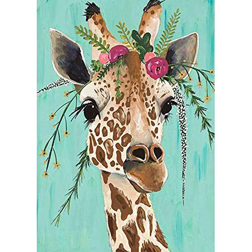 5D Diamond Painting by Numbers Kits, Giraffe DIY Rhinestone Diamond for Adults and Kids, Home Wall Décor Art Kit Crystal Craft Decoration with Full Set of Tools(30x40cm)