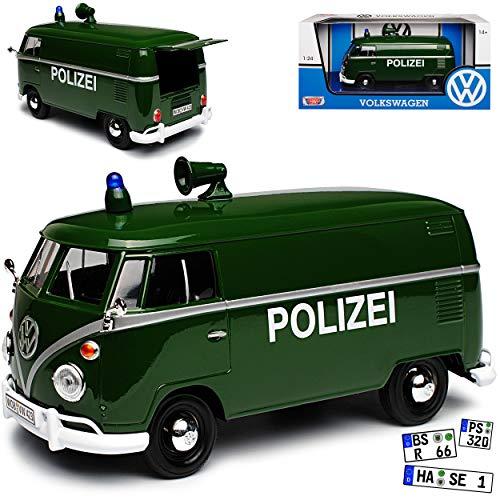 Motormax Volkwagen T1 Polizei Grün 1950-1967 1/24 Modell Auto