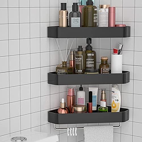 Riyyow Estante de Ducha, estanterías de Esquina de baño, Cesta de Almacenamiento, Soporte de Especias de Cocina, para baño y Cocina (Color : Black-d(3f))