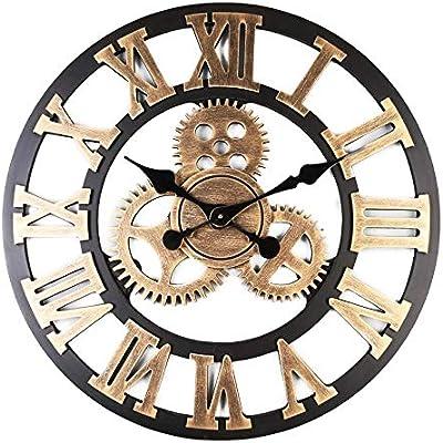 Retro Big 3D Wheel Wall Clock Steampunk Industrial Time Keeper Gear Decor