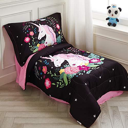 Wowelife Rainbow Unicorn Toddler Bedding Set Black Unicorn Toddler Bed Sets 4 Piece Flowers Rainbow for Kids(Rainbow Unicorn)