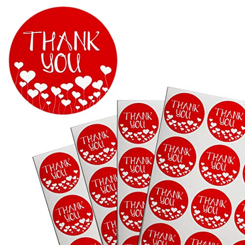 Royal Green Thank You Adhesive Labels in Red - Party Favor Seals Stickers roll for Personal and Business use 38mm (1.5' Diameter) - 180 Pack
