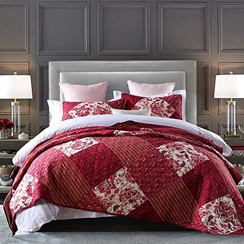 GLXLSBZ 3 colchas tamaño King, Rojo, 100% algodón, Patchwork, Estampado de Flores, liviano, Patchwork, Acolchado, Colcha, Doble, edredón, con 2 Fundas de Almohada, 173 x 218 cm