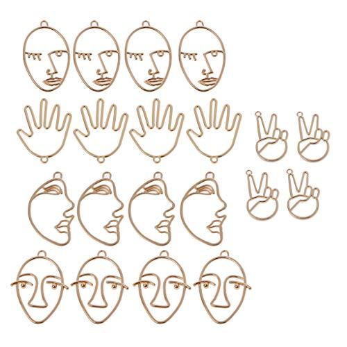 KJ-KUIJHFF Jewelry Stands and Displays, 20Pcs Human Face Palm Hand Shape Drop Charm Earring Pendants Jewelry Finding DIY