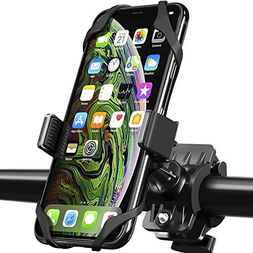 Bike Mount Cell Phone Holder | Universal Cellphone Bicycle Rack Handlebar & Motorcycle Holder Cradle Compatible with All Smartphones (Black)