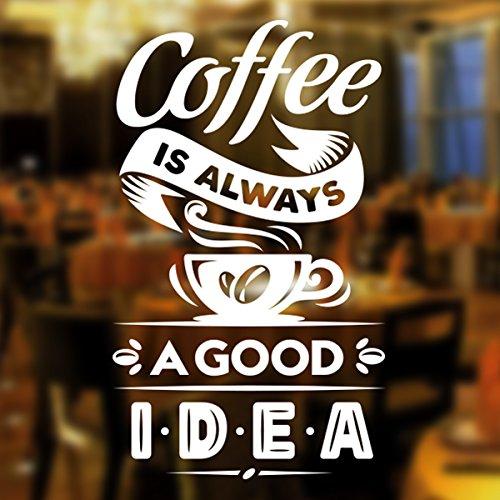 Wall4stickers Coffee Good Idea Taza de café para Llevar Tienda de vinos Vinilo Pegatina Letrero de Ventana Decoración de Signo de Arte de Pared