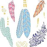 Plantilla de plumas – Plantilla reutilizable para paredes de paredes de pájaros nativos americanos