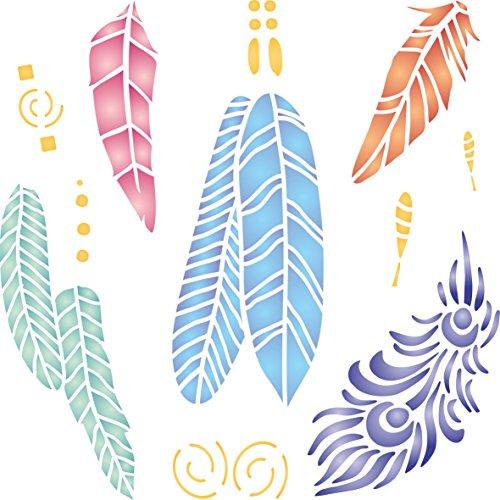 Federn Schablone – wiederverwendbare Indianer Vogel Pfau Feder Wand Schablone Vorlage Large