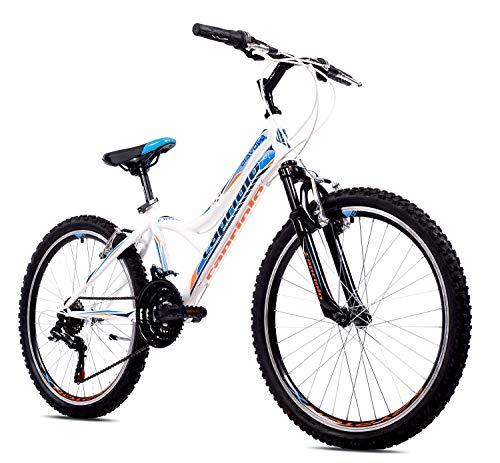 breluxx® 24 Zoll Kinderfahrrad Mountainbike Hardtail Diavolo400 FS Sport, blau-weiß, 18 Gang Shimano - Made in EU