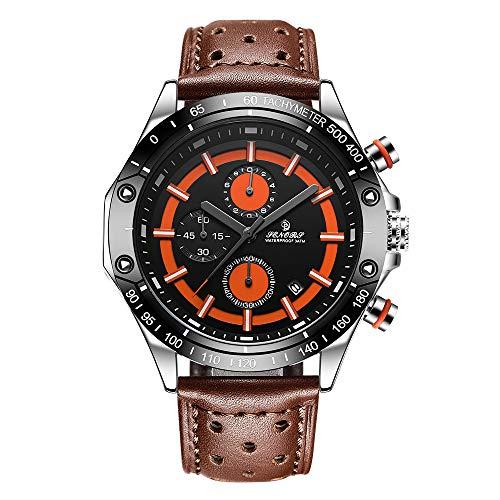 Orologio da uomo cronografo orologio da polso al quarzo analogico impermeabile per uomo SE00801 arancione