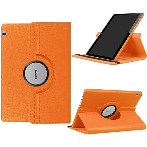 DETUOSI Fundas Huawei MediaPad T3 10 Funda de Cuero Giratoria 360 Grados Smart Case Cover Protectora Carcasa con Stand Función para Tablet Huawei T3 10 Pulgadas -Naranja