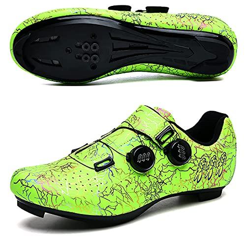 Zapatos De Ciclismo Al Aire Libre De Los Hombres, Zapatos De Bicicleta De La Carretera para Mujeres con Cerraduras, Bicicletas De Montaña Interior con Tacos Y Cordones Giratorios,E,46 EU