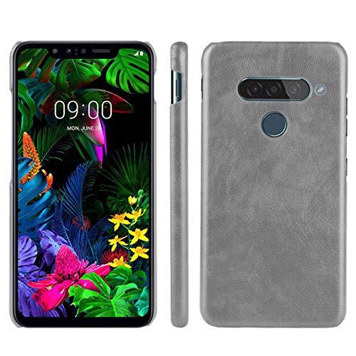 HualuBro Handyhülle für LG G8S ThinQ Hülle, Retro PU Leder Ultra Slim Stoßfest Schutzhülle Lederhülle Back Bumper Hülle Cover für LG G8S ThinQ Tasche (Grey)