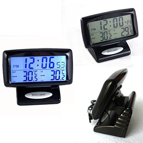 pantalla digital Term/ómetro digital LCD 2 en 1 para coche herramienta de medici/ón de temperatura dual con funci/ón de retroiluminaci/ón interior y exterior pantalla digital pantalla digital