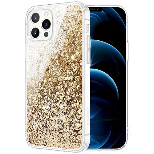 Caka Phone Case for iPhone 12 Glitter Case, iPhone 12 Pro Glitter Case Girly Girls Women Bling Liquid Sparkle Fashion Flowing Quicksand Case for iPhone 12 12 Pro (6.1 inches) (Gold)