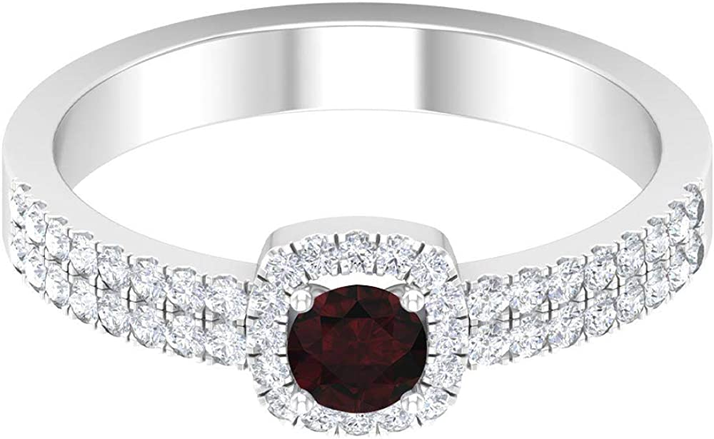 4 MM Garnet Engagement Ring, 1/4 CT HI-SI Diamond Halo Ring with Side Stones, Gold Classic Ring (AAA Quality), 14K Gold