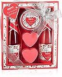 BRUBAKER Cosmetics 5-Pcs. Set de Baño y Ducha Fresa Sweet Love - Set de Cuidado de Regalo con Diseño de Flores - Idea de Regalo para Mujeres y Hombres - Rosa