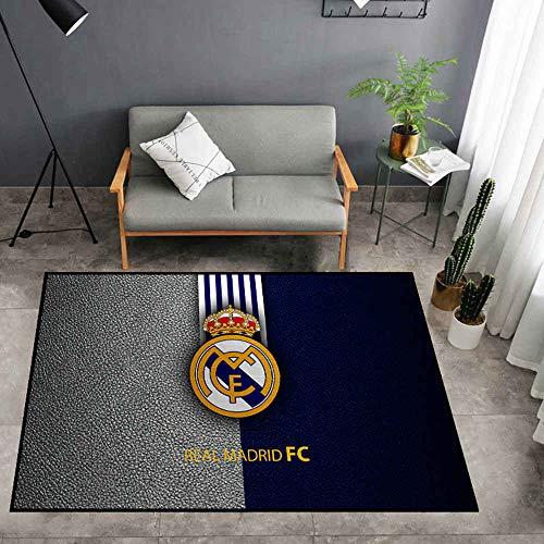 WANZIJING AlfombrasModa de la Alfombra, Creative Real Madrid Club de Fútbol Logo Tide Salón Dormitorio Estudio Guardarropa Decorativo Alfombra,100×160 cm