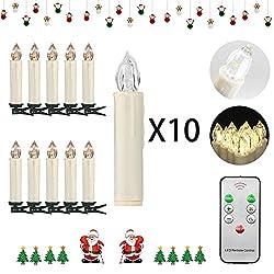 Soontrans 30er LED Kabellose Christbaumkerzen mit Fernbedienung LED Weihnachtsbaumkerzen Kabellos Warmweiß Licht
