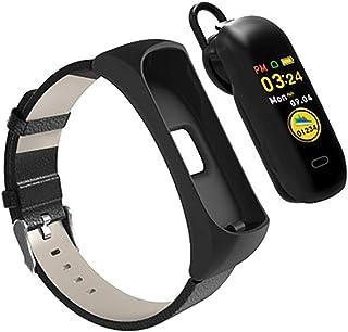 YZY Pulsera Actividad, Pulsera Inteligente con Auriculares Bluetooth 2 en 1 y Reloj de podómetro de monitorización del sueño de frecuencia cardíaca para Hombres, Mujer, Negro
