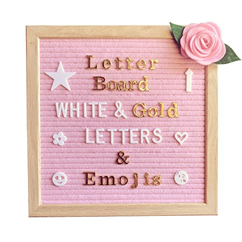 Pink Felt Letter Board 10x10 Inches – Changeable Message Board Includes Pink Felt Flower, 335 White Letters & Emojis, 126 Shiny Gold Letters & Emojis, Wall Hanging Hook, Oak Frame, & Canvas Bag