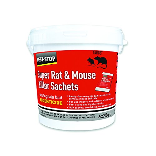 Pest-Stop PSSA05 Super Rat and Mouse Killer Sachets, Red, 6 x 25 g