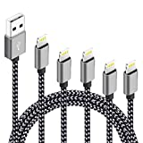 5Pack(3ft 3ft 6ft 6ft 10ft) iPhone Lightning Cable Apple Certified Braided Nylon Fast Charger Cable Compatible iPhone Max XS XR 8 Plus 7 Plus 6s 5s 5c Air iPad Mini iPod (Black Gray)
