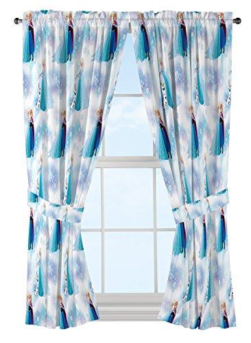 "Jay Franco Disney Frozen Magic Winter 63"" Decorative Curtain/Drapes 4-Piece Set (2 Panels, 2 Tiebacks)"