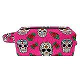 Neceser bolsa de maquillaje organizador de cosméticos bolsa de lavado kit de bolsa de viaje para hombres y mujeres Rock and Roll Florals Skull
