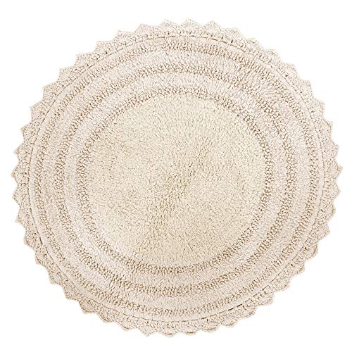 Alfombra de baño de algodón Suave con diseño Redondo de Ganchillo - Tapetes para baño, Ducha, bañera, Lavabo, Inodoro - (61 cm, Marfil)