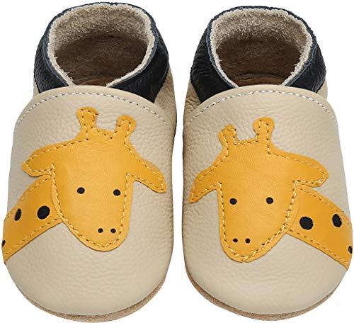 Yavero Primeros Zapatos Bebés Zapatillas de Andar por Casa para Bebés Zapatillas de Cuero Niñas Niños - Cómodas Blanditas y Ligeras, Jirafa Gris, 18-24 Meses