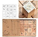 SUHU 16pcs Wooden Rubber Stamp Set Vintage Planet Moon Cloud Decorative Stamp Wood Rubber Stamps for Scrapbooking Stationery DIY Craft Card Standard Stamp
