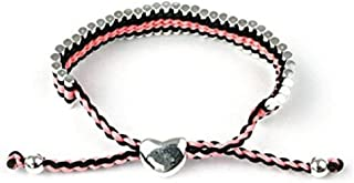Liberty Charms Silver Plated Braided Pink Adjustable Friendship Bracelet