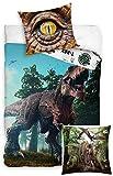 rainbowFUN.de Dinosaurier Bettwäsche-Set Bettbezug 135x200 Kissenbezug 80x80 100% Baumwolle...