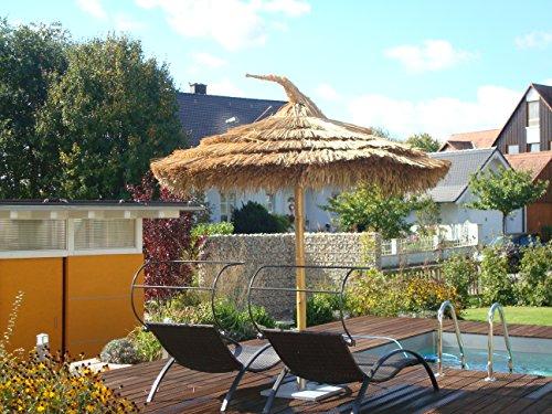 BIHL Strohschirm mit Bambusstandrohr Sonnenschirm Bambusschirm in 3 Größen (250 cm)