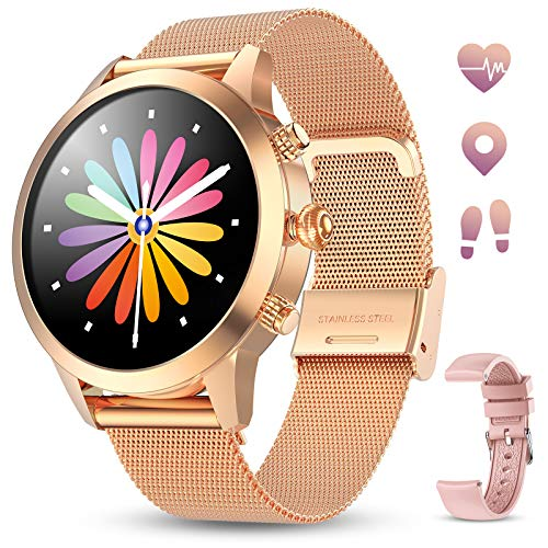 Smartwatch Donna GOKOO Touchscreen Completo Orologio Intelligente Donna con Cardiofrequenzimetro Misuratore Pressione IP68 Impermeabile Sportivo Fitness Activity Tracker Compatibile con iOS e Android