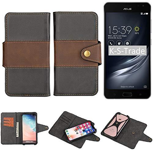 K-S-Trade Handy-Hülle Schutz-Hülle Bookstyle Wallet-Hülle Für Asus ZenFone AR Bumper R&umschutz Schwarz-braun 1x